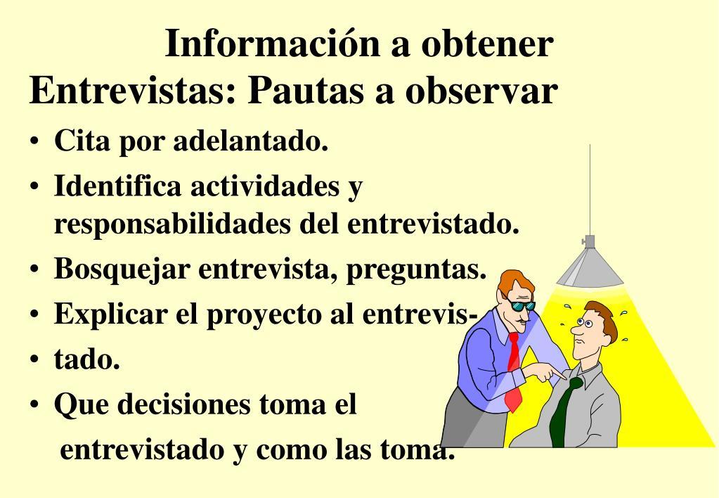 Información a obtener
