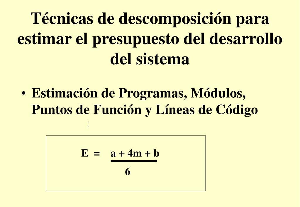 Técnicas de descomposición para estimar el presupuesto del desarrollo del sistema