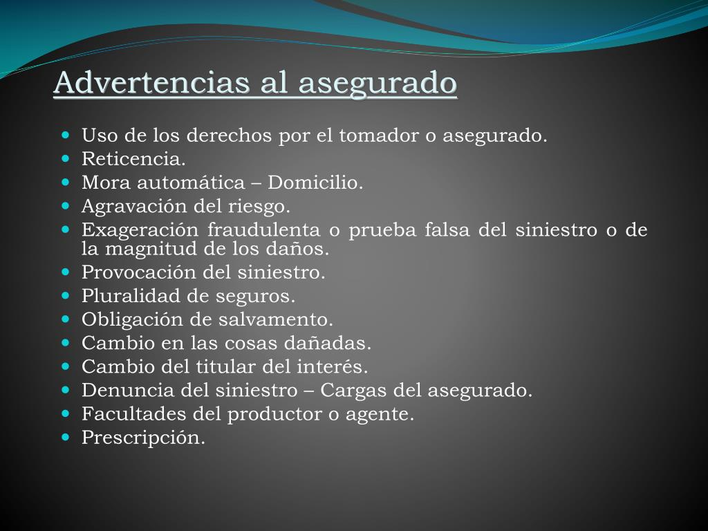 Advertencias al asegurado
