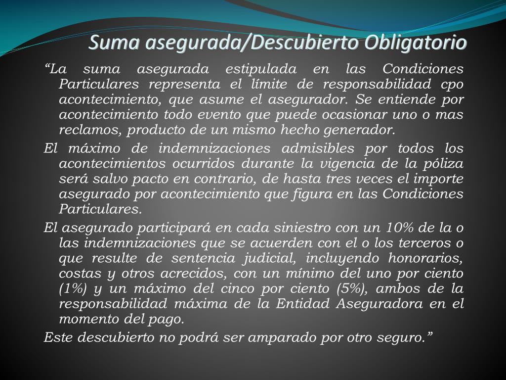 Suma asegurada/Descubierto Obligatorio