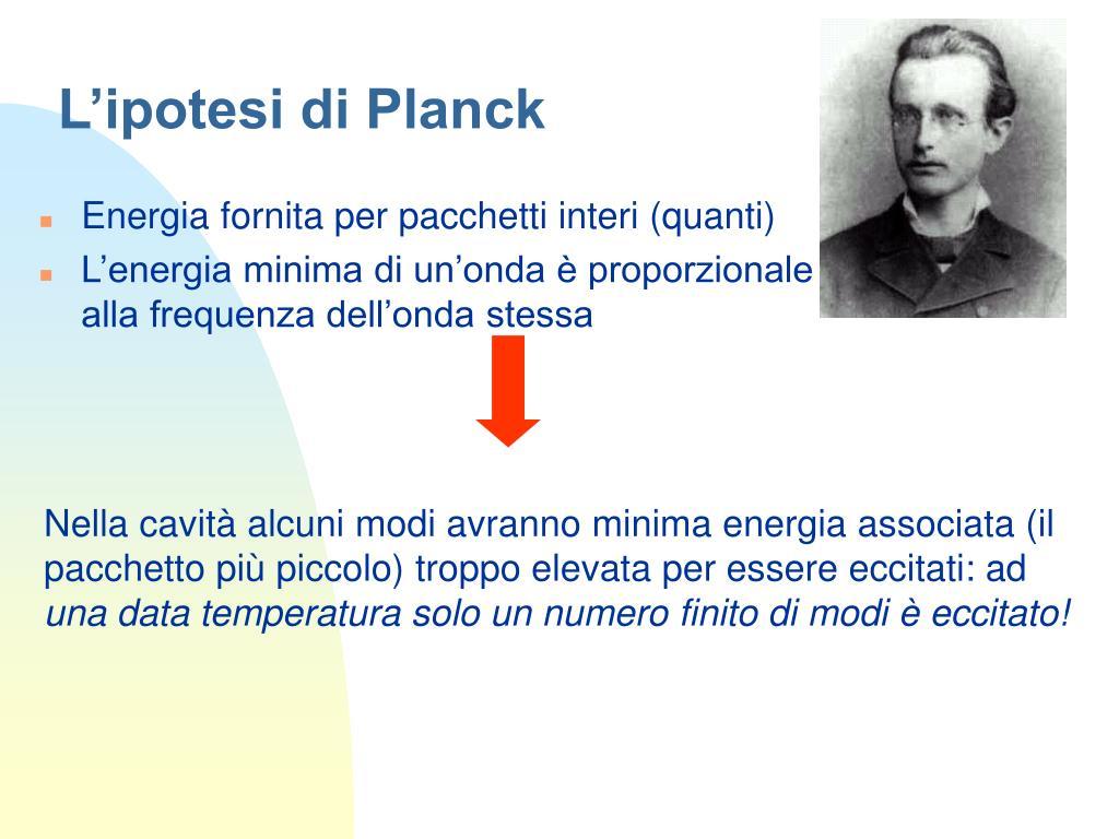 L'ipotesi di Planck