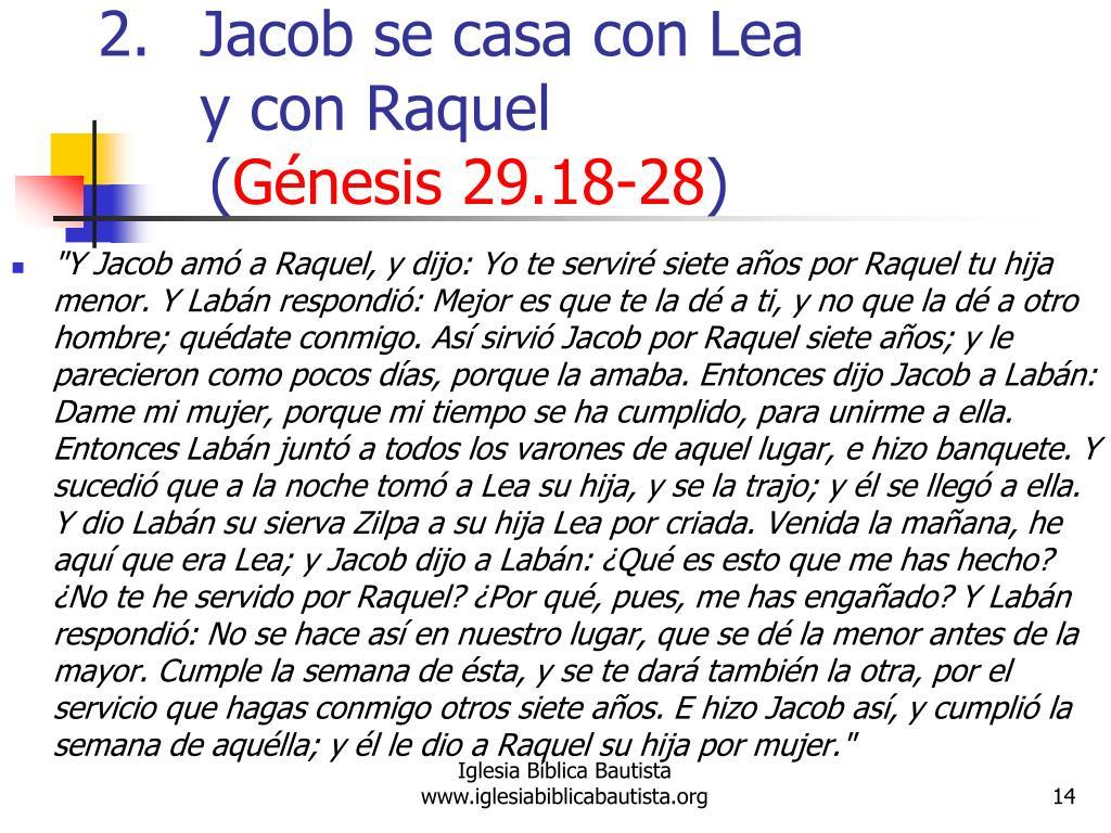 Jacob se casa con Lea y con Raquel