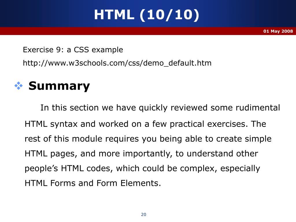 HTML (10/10)