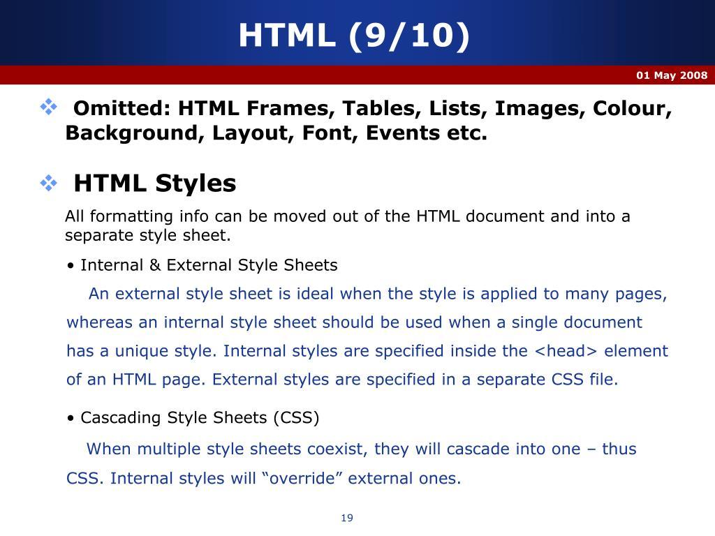 HTML (9/10)