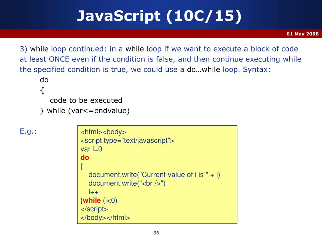 JavaScript (10C/15)