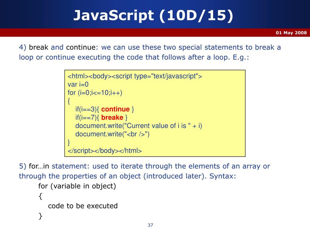 JavaScript (10D/15)