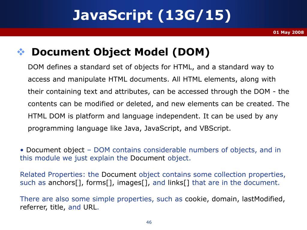 JavaScript (13G/15)