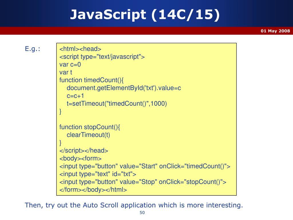 JavaScript (14C/15)