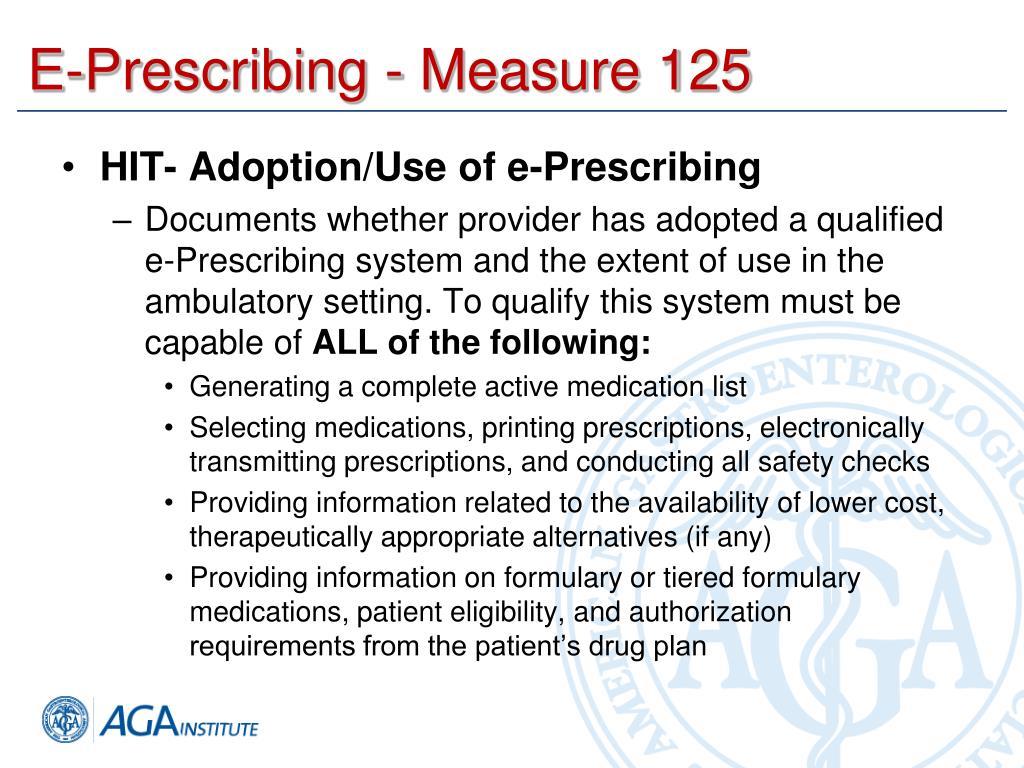 E-Prescribing - Measure 125