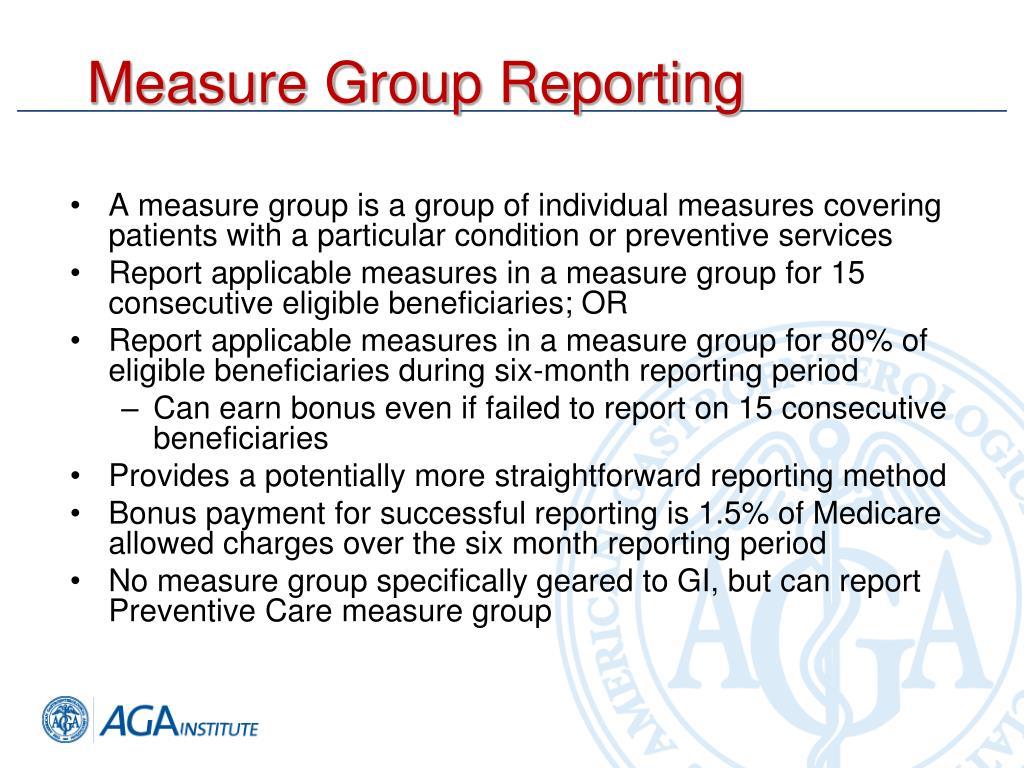 Measure Group Reporting