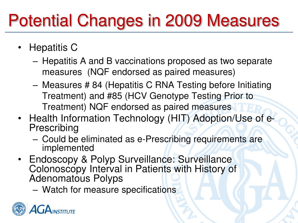 Potential Changes in 2009 Measures