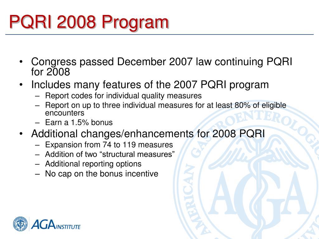 PQRI 2008 Program
