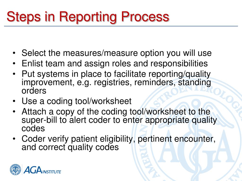 Steps in Reporting Process