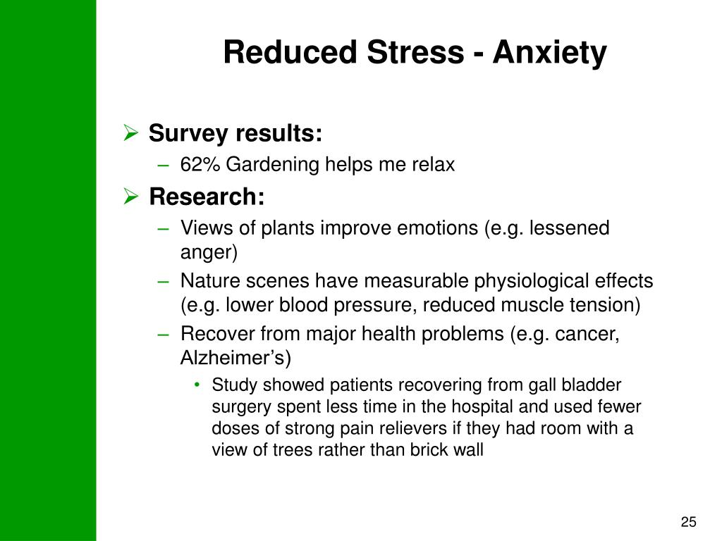 Reduced Stress - Anxiety