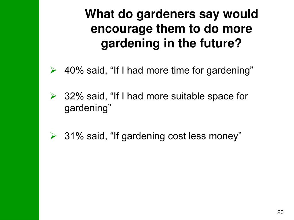 What do gardeners say would encourage them to do more gardening in the future?