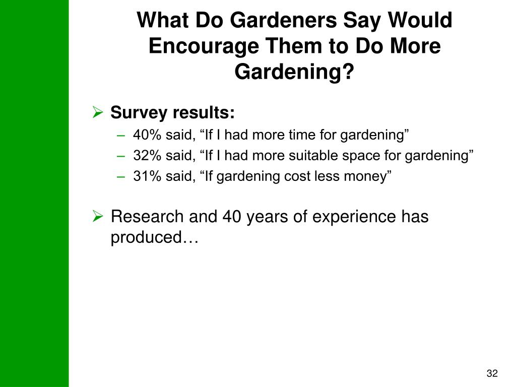 What Do Gardeners Say Would Encourage Them to Do More Gardening?