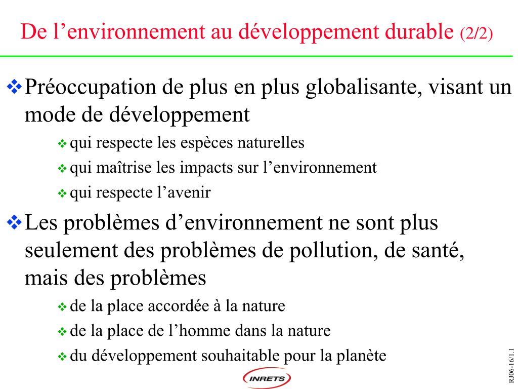 De l'environnement au développement durable