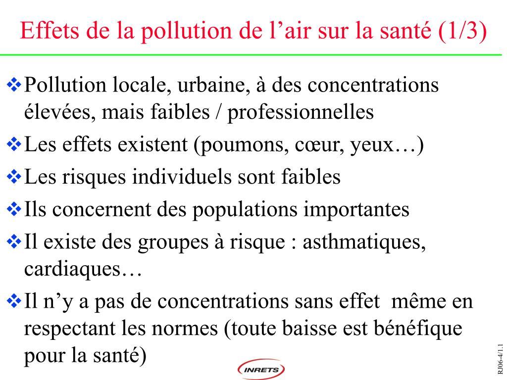 Effets de la pollution de l'air sur la santé (1/3)