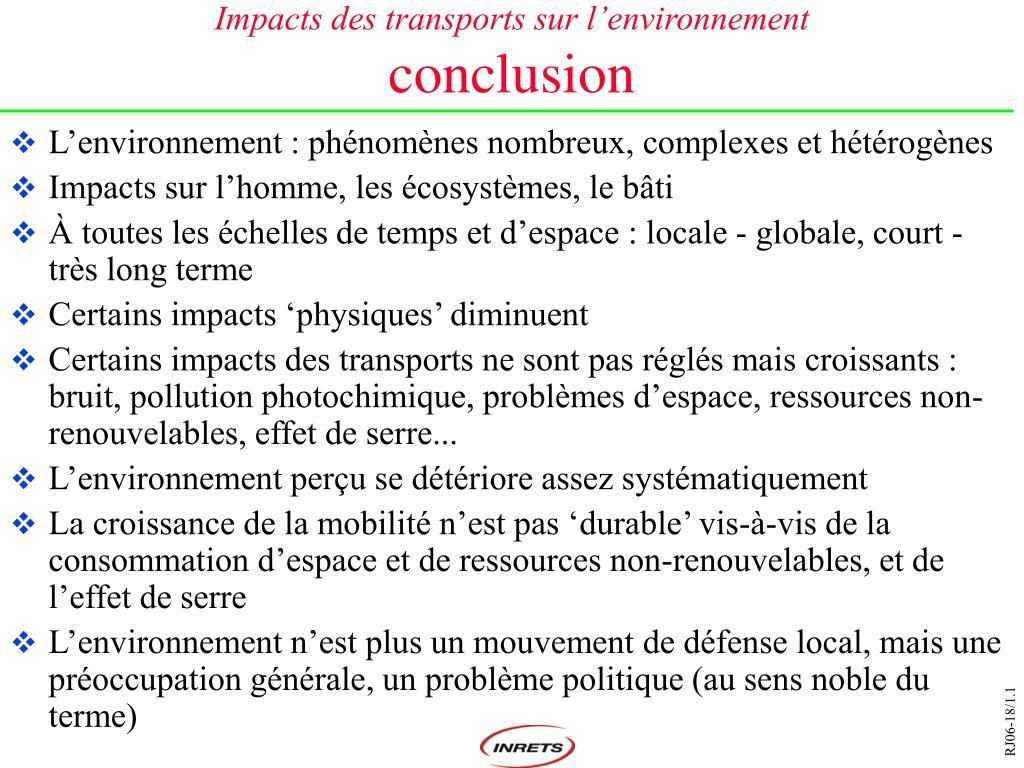 Impacts des transports sur l'environnement