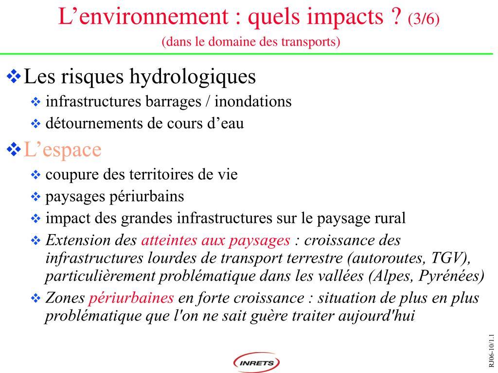 L'environnement: quels impacts?