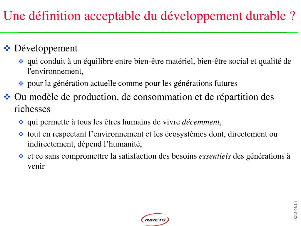 Une définition acceptable du développement durable?