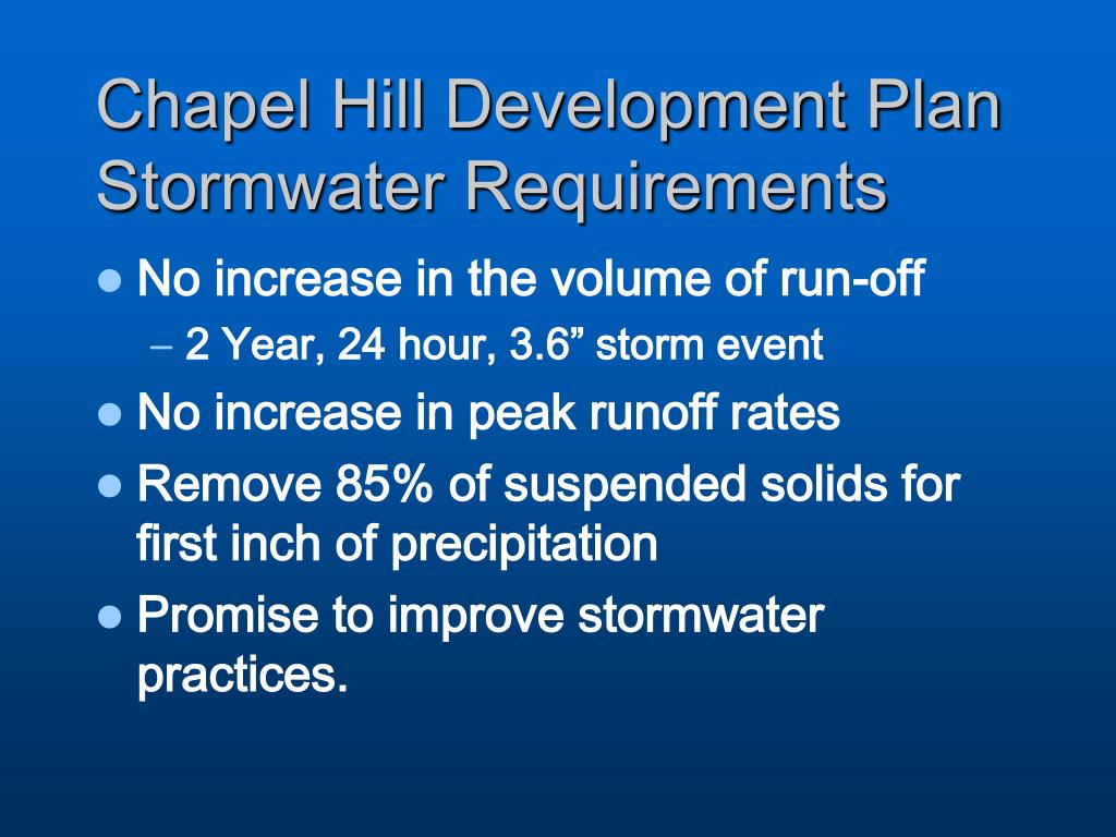 Chapel Hill Development Plan Stormwater Requirements