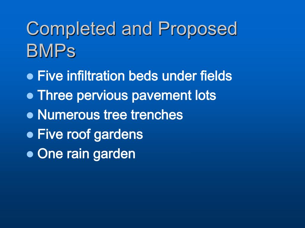 Completed and Proposed BMPs
