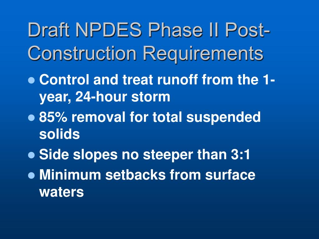 Draft NPDES Phase II Post-Construction Requirements