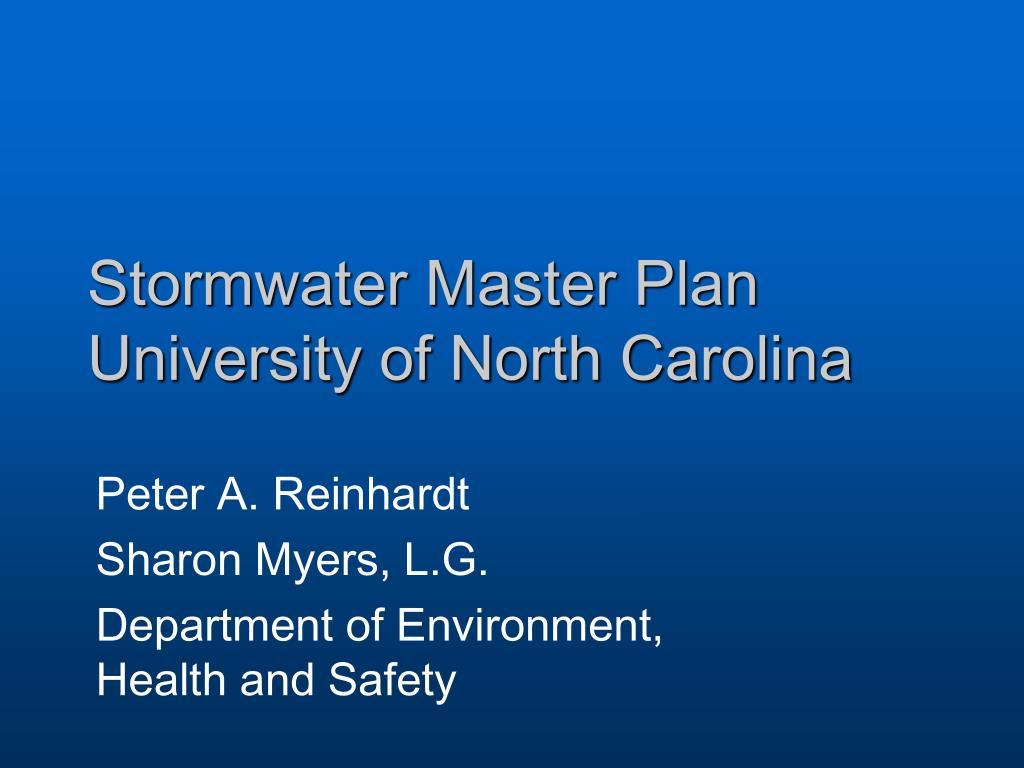 Stormwater Master Plan University of North Carolina