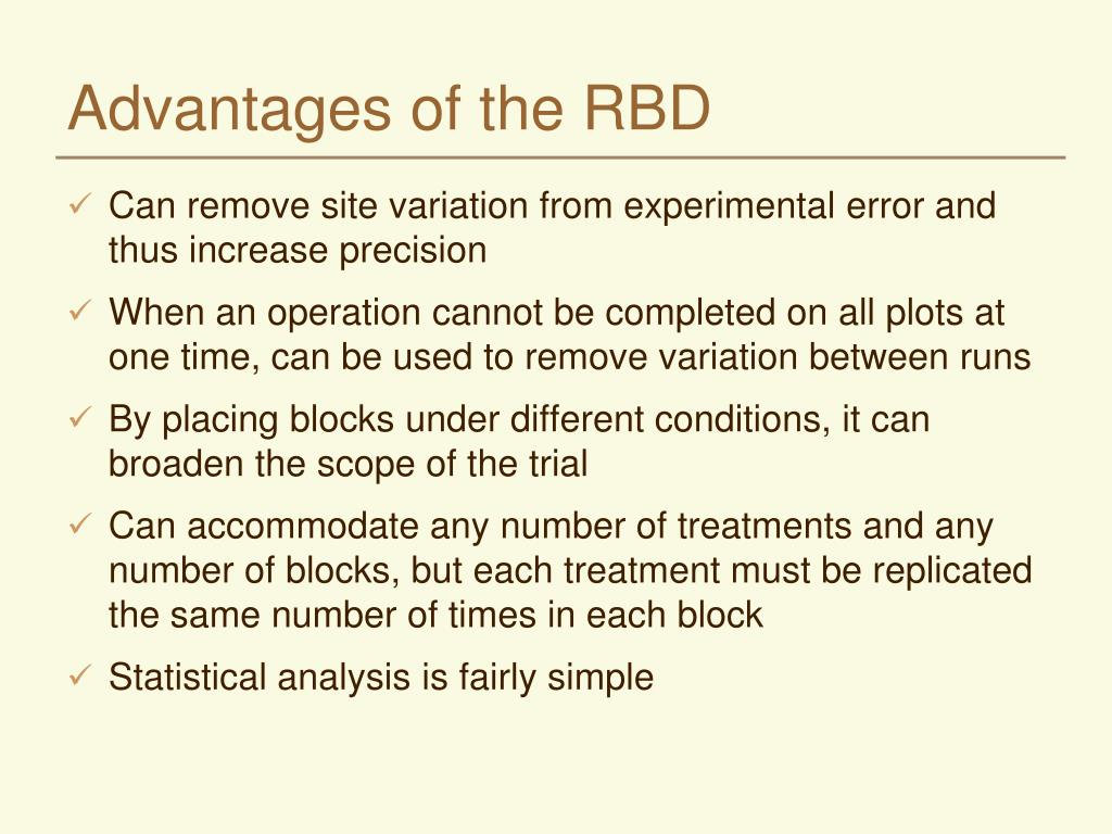 Advantages of the RBD