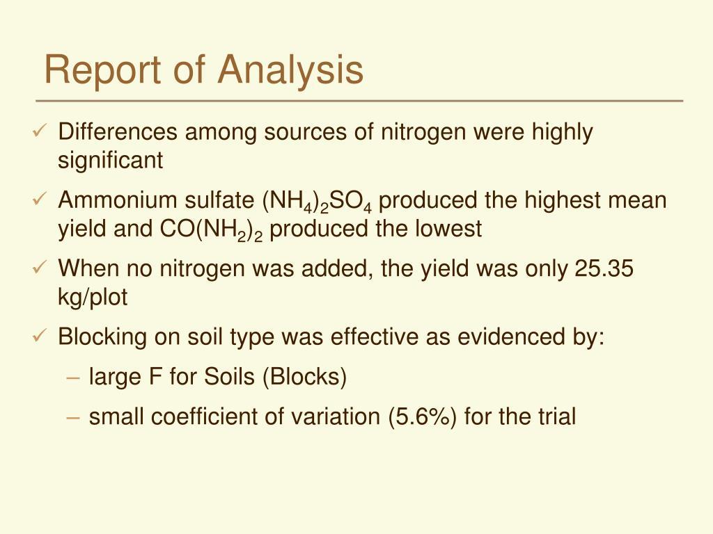 Report of Analysis