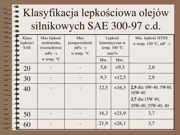 Klasyfikacja lepkościowa olejów silnikowych SAE 300-97 c.d.