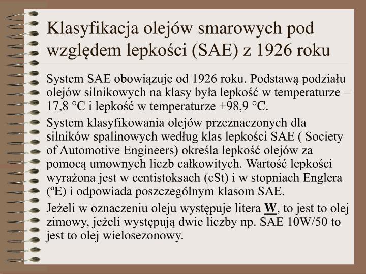 Klasyfikacja olejów smarowych pod względem lepkości (SAE) z 1926 roku