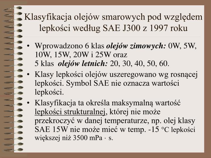 Klasyfikacja olejów smarowych pod względem lepkości według SAE J300 z 1997 roku
