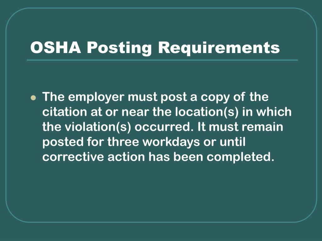 OSHA Posting Requirements