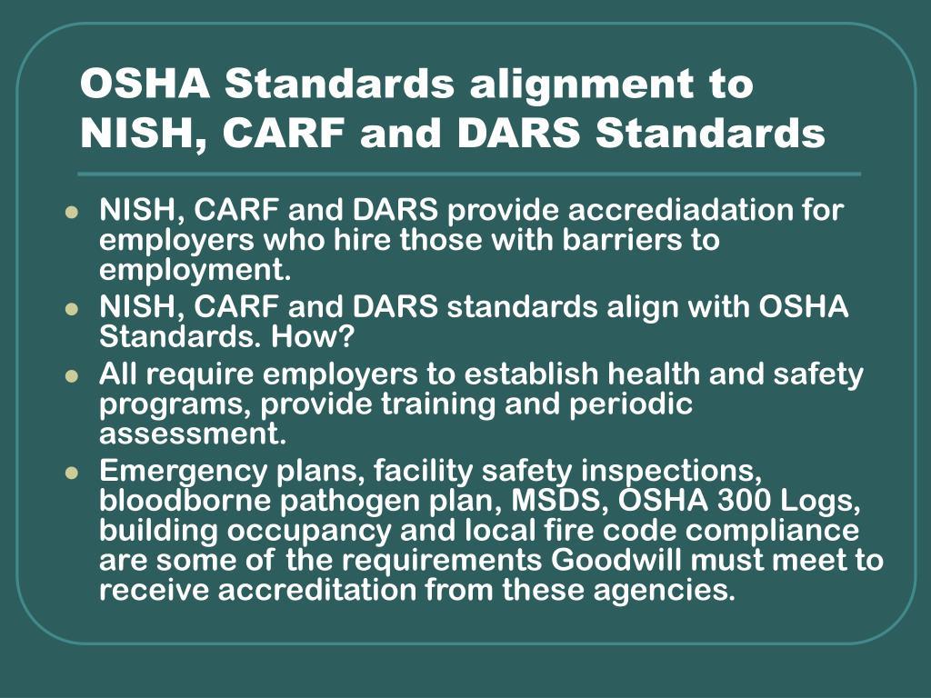 OSHA Standards alignment to
