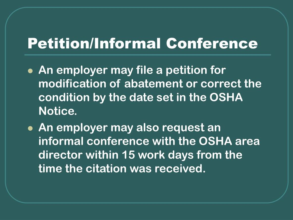 Petition/Informal Conference
