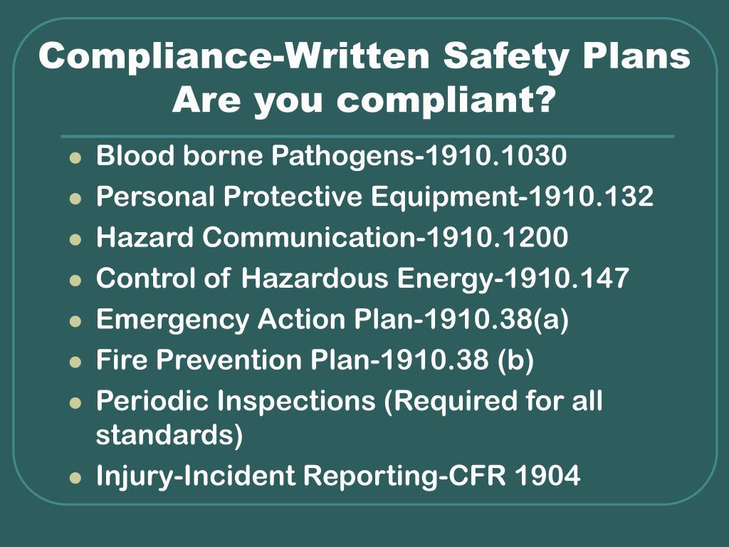 Compliance-Written Safety Plans