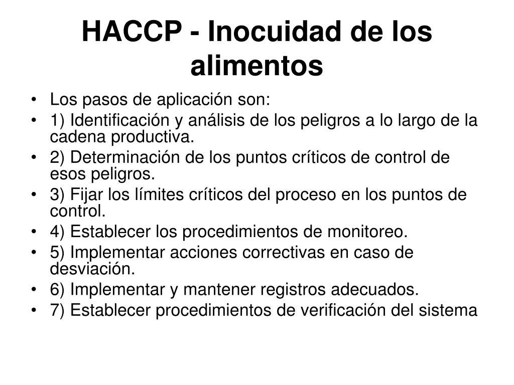 HACCP - Inocuidad de los alimentos