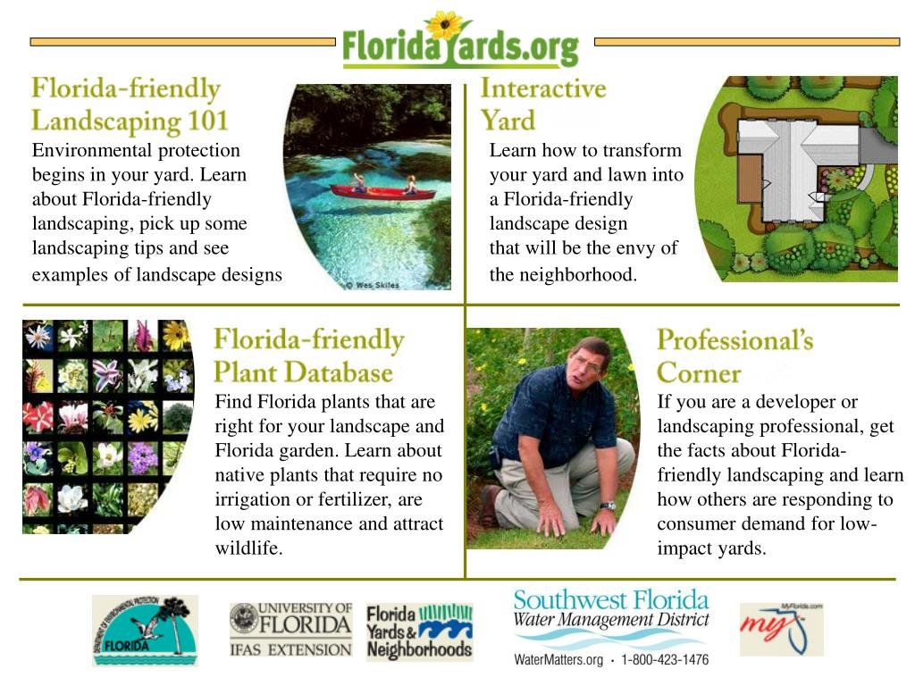 Environmental protection begins in your yard. Learn about Florida-friendly landscaping, pick up some landscaping tips and see examples of landscape designs.