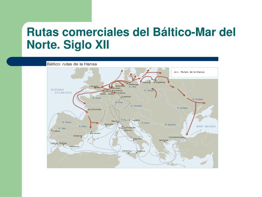 Rutas comerciales del Báltico-Mar del Norte. Siglo XII