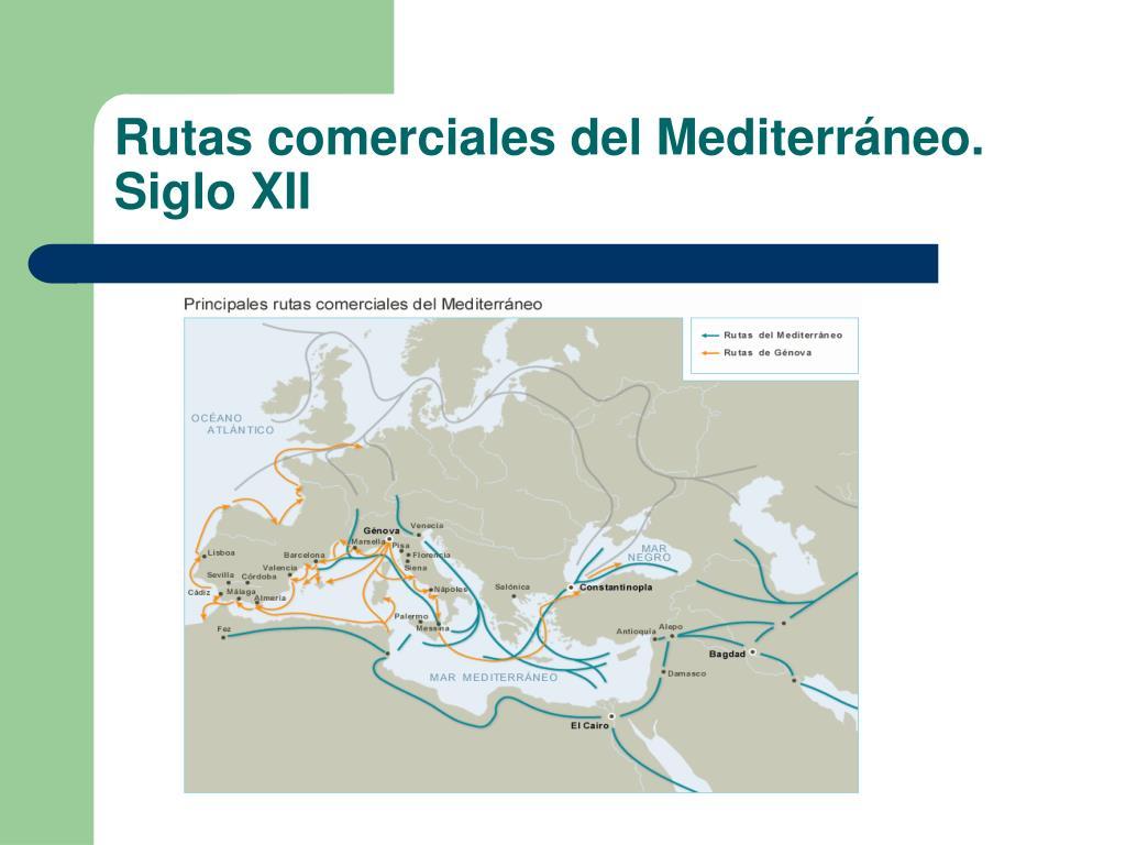 Rutas comerciales del Mediterráneo. Siglo XII