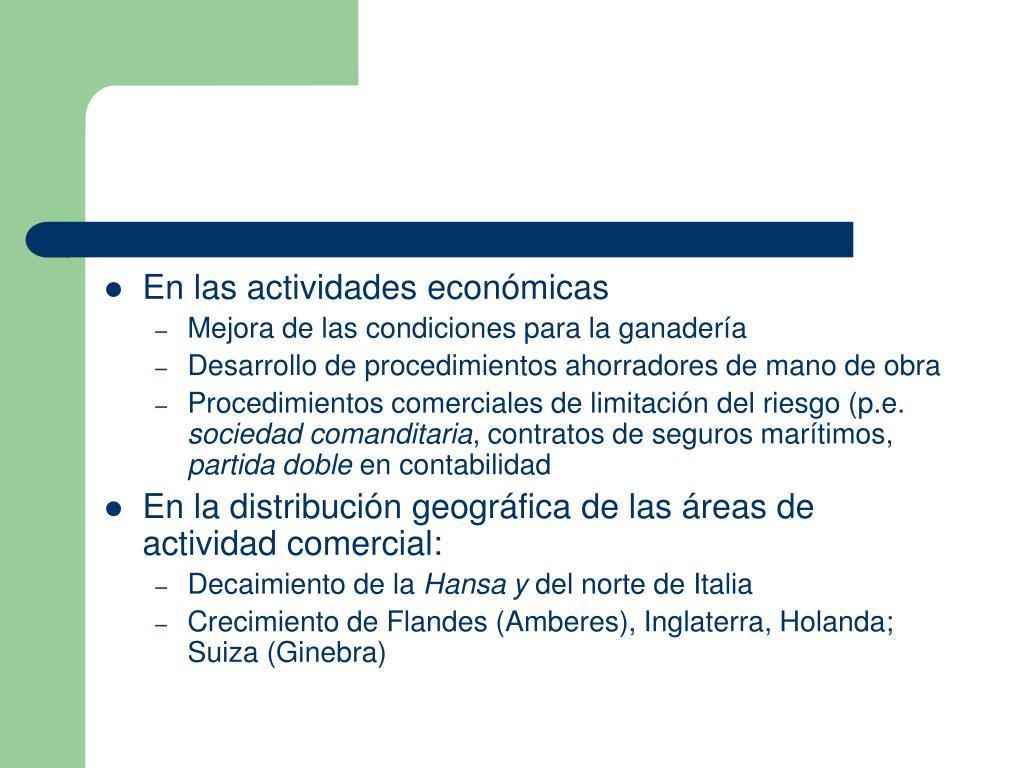 En las actividades económicas