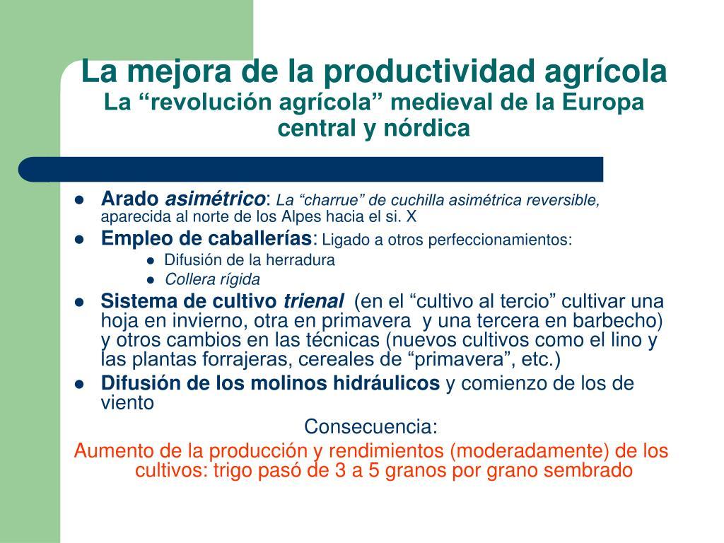 La mejora de la productividad agrícola