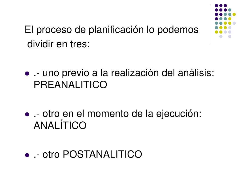 El proceso de planificación lo podemos