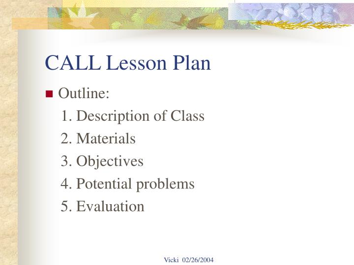 Call lesson plan