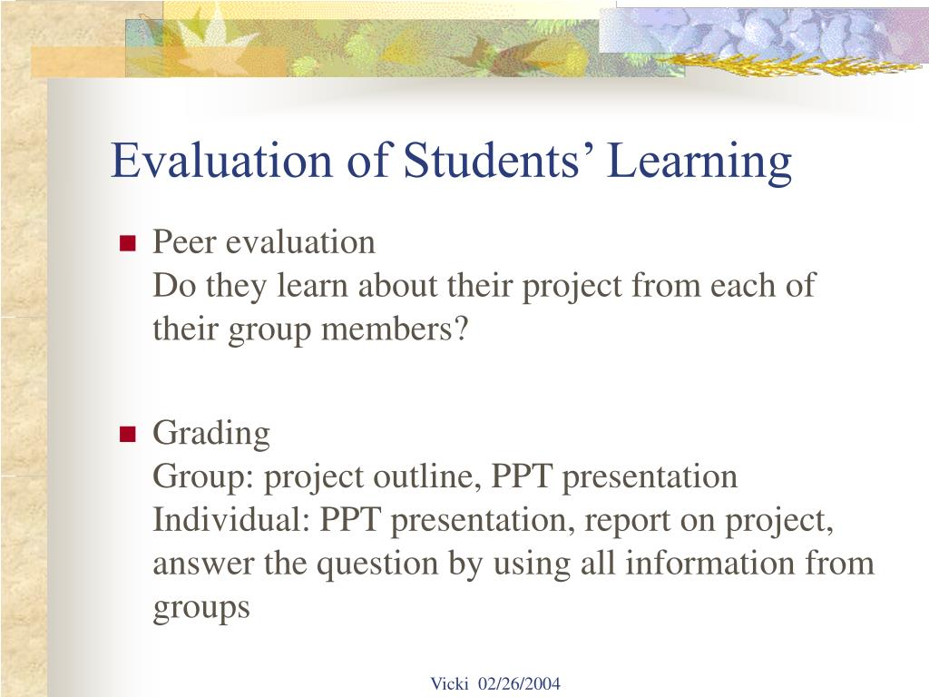 Evaluation of Students' Learning