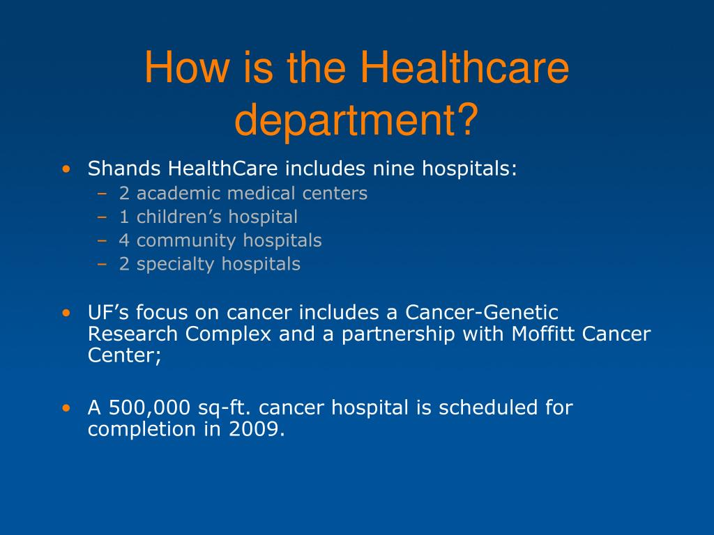 How is the Healthcare department?