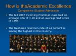 how is theacademic excellence competitive student admission