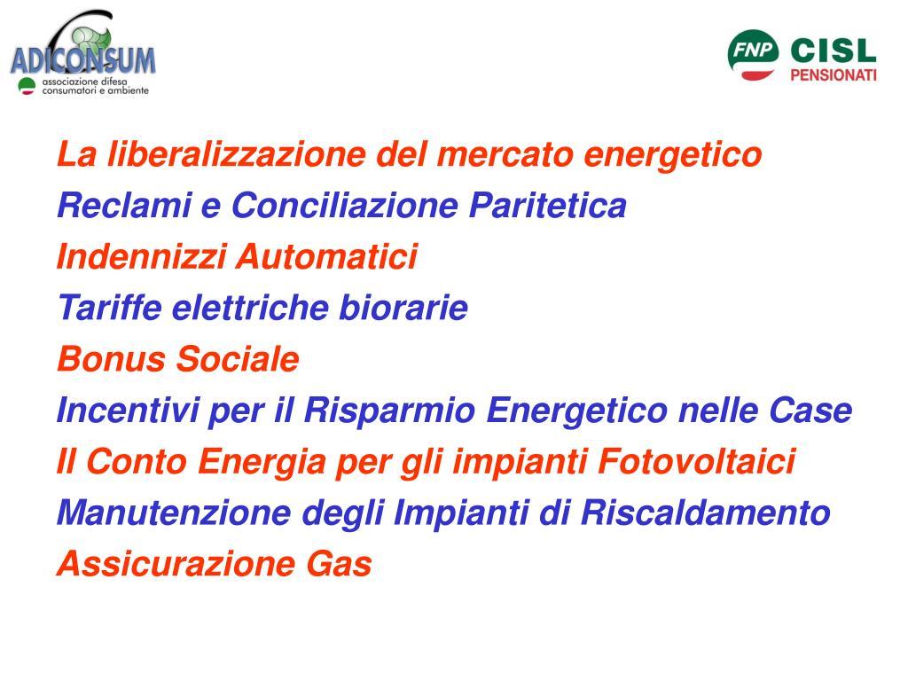 La liberalizzazione del mercato energetico